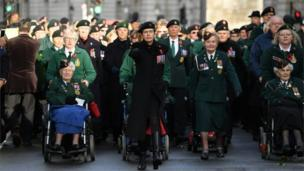 Veterans at the Cenotaph ceremony