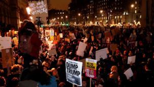 London, protes, Inggris, Trump