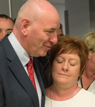 Former SDLP MP Mark Durkan, who lost his Foyle seat, gets a consolatory cuddle from his wife Jackie
