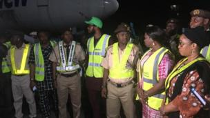 Abike Dabiri with Nigerian officials while receiving the returnees from South Africa