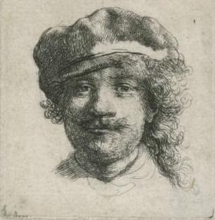 Rembrandt Harmensz van Rijn 1606-1669, self portrait wearing a soft cap, full face, head only ('Rembrandt aux trois moustaches'), 1634, etching on paper, 4.8 x 4.4cm
