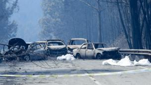 Burnt cars and body bags on the N236 road between Figueiro dos Vinhos and Castanheira de Pera, near Pedrógão Grande., central Portugal, 18 June 2017