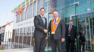 Leo Varadkar became the first taoiseach (Irish prime minister) to visit the headquarters of the Orange Order in east Belfast.