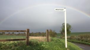 A rainbow appears near Westcot, captured by 12-year-old Heidi Barnes.