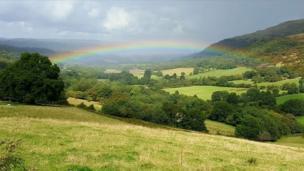 A rainbow over Storey Arms, Brecon Beacons