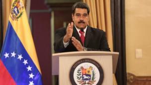 Nicolás Maduro en un mensaje televisado