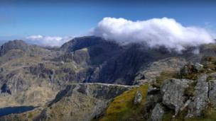 The Glyders from Y Garn, above the Ogwen Valley
