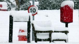 Snow on park bench