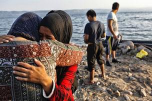 Migrants arriving on Lesbos