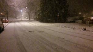 A snowy street in west Bristol