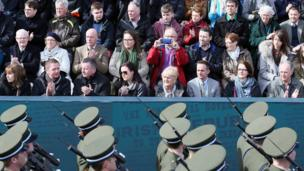 Members of the public watch the parade in Dublin commemorating 100 years since the Easter Rising
