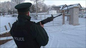 A grenade was found outside a police officer's home in County Fermanagh