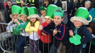These children had a front row view of the parade in Omagh