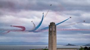 Red Arrows breaking away over Swansea Bay