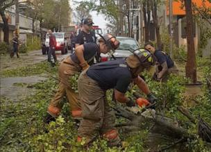 Workers clear damaged trees after Hurricane Maria in San Juan, Puerto Rico.