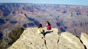 People looking at the Grand Canyon