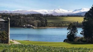 A view of Snowdonia from Plas Newydd on Anglesey