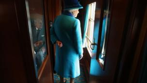 Queen Elizabeth II travels on a steam train to inaugurate the new £294 million Scottish Borders Railway, on the day the Queen becomes Britain's longest reigning monarch