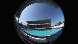 A general view during a Water Polo training session at the Maria Lenk Aquatics Centre in the Olympic Park