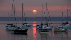 sunrise at Holyhead marina