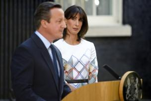 Samantha Cameron looks at her husband, David Cameron as he delivers a resignation speech on the day that the UK voted, in a referendum, to leave the EU.