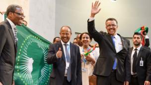 Tedros Adhanom Ghebreyesus celebrating