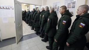 Russian soldiers line up t vote in Sertolovo, outside St Petersburg, Russia, on 18 March 2018