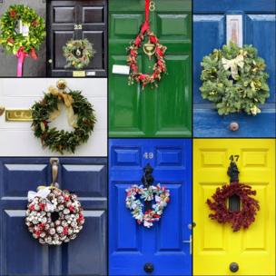 Collage of Christmas wreaths on doors