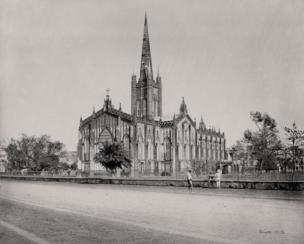 Kolkata (formerly Calcutta), The Cathedral, from the West, 1867, Samuel Bourne