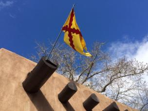 Flag in Santa Fe Plaza, New Mexico