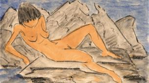 """""""Mujer desnuda recostada cerca al agua"""", por Otto Müeller."""