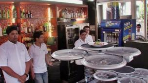 Ever thought the service is bad in a restaurant? Well, this place in Singapore is replacing waiting-staff with drones! Drone-waiters whizz above the heads of diners on paths mapped out by a computer program, finding their way using infra-red sensors placed around the restaurant. Watch out as you stand up!