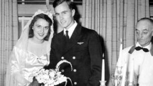 The wedding of future US President George HW Bush and Barbara Pierce at the First Presbyterian Church in Rye, New York, 06/01/1945