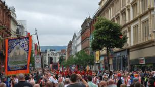Twelfth of July parade in Belfast's Royal Avenue