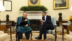 ملاقات رئیس جمهوری آمریکا با حامد کرزی در قصر سفید