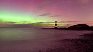The Northern Lights above Penmon Point on Anglesey