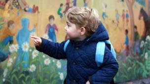 6 June 2016: In this photo taken by his mother, Prince George attends his first day of nursery at the Westacre Montessori in Norfolk