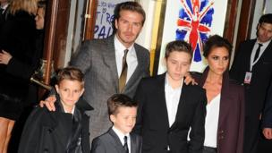 David and Victoria Beckham with their three sons