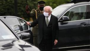 The President of Ireland Michael D. Higgins arrives at the Cathedral
