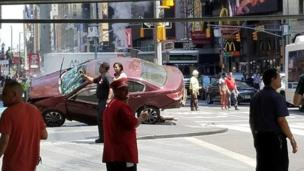Onlookers near a deadly car crash in New York's Times Square