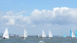 Sailing boats on Cardiff Bay