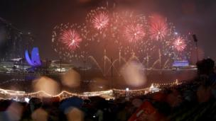 Tahun baru, kembang api, Singapore