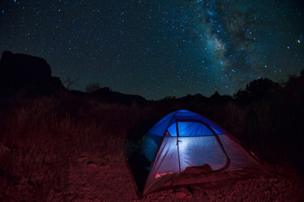 Tent against a starry sky