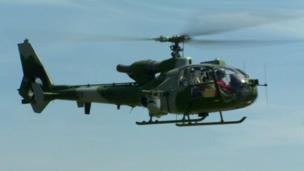 An Army Gazelle helicopter come into land at Newcastle