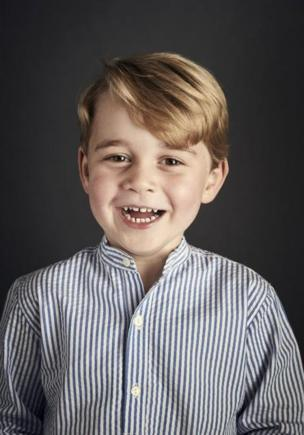 This official portrait of Prince George was released to mark his fourth birthday on 22 July 2017, taken at Kensington Palace
