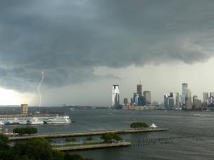 Lightning storm above the Hudson River