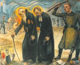 Olère painting - Jewish and Christian victims/SS guard (courtesy of Auschwitz-Birkenau Memorial)