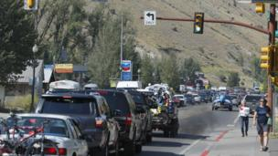Traffic clogs the main road on August 20, 2017 in Jackson, Wyoming. People are flocking to the Jackson and Teton National Park area for the 2017 solar eclipse which will be one of the areas that will experience a 100% eclipse on Monday August 21, 2017.