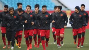 Tuyển U23 của Việt Nam luyện tập ở Thường Châu, Trung Quốc trước trận gặp Qatar vào thứ Ba tuần này.