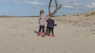 Girls on Nairn beach